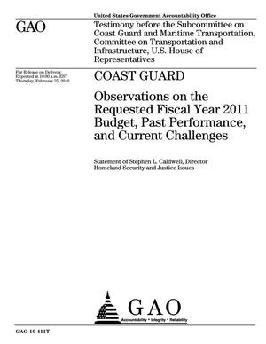 Primary view of object titled 'Coast Guard: Observations on the Requested Fiscal Year 2011 Budget, Past Performance, and Current Challenges'.