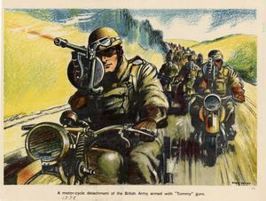 "Primary view of object titled 'A motor-cycle detachment of the British Army armed with ""Tommy"" guns.'."