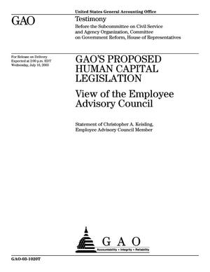 Primary view of object titled 'GAO'S Proposed Human Capital Legislation: Views of the Employee Advisory Council'.