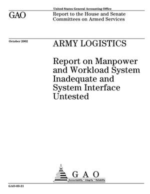 Primary view of object titled 'Army Logistics: Report on Manpower and Workload System Inadequate and System Interface Untested'.