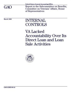 Primary view of object titled 'Internal Controls: VA Lacked Accountability Over Its Direct Loan and Loan Sale Activities'.
