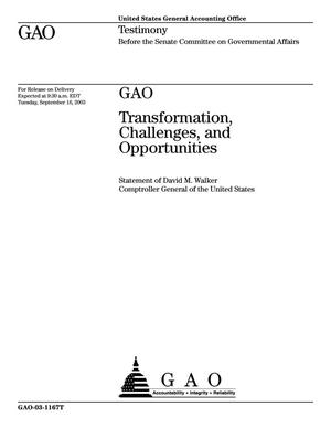 Primary view of object titled 'GAO: Transformation Challenges, and Opportunities'.