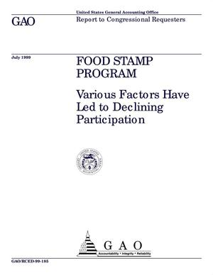 Primary view of object titled 'Food Stamp Program: Various Factors Have Led to Declining Participation'.