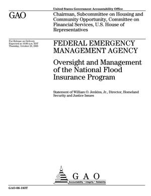 Primary view of object titled 'Federal Emergency Management Agency: Oversight and Management of the National Flood Insurance Program'.