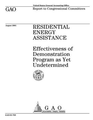 Primary view of object titled 'Residential Energy Assistance: Effectiveness of Demonstration Program as Yet Undetermined'.