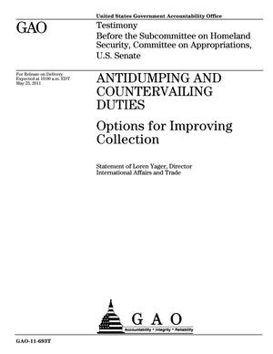 Primary view of object titled 'Antidumping and Countervailing Duties: Options for Improving Collection'.