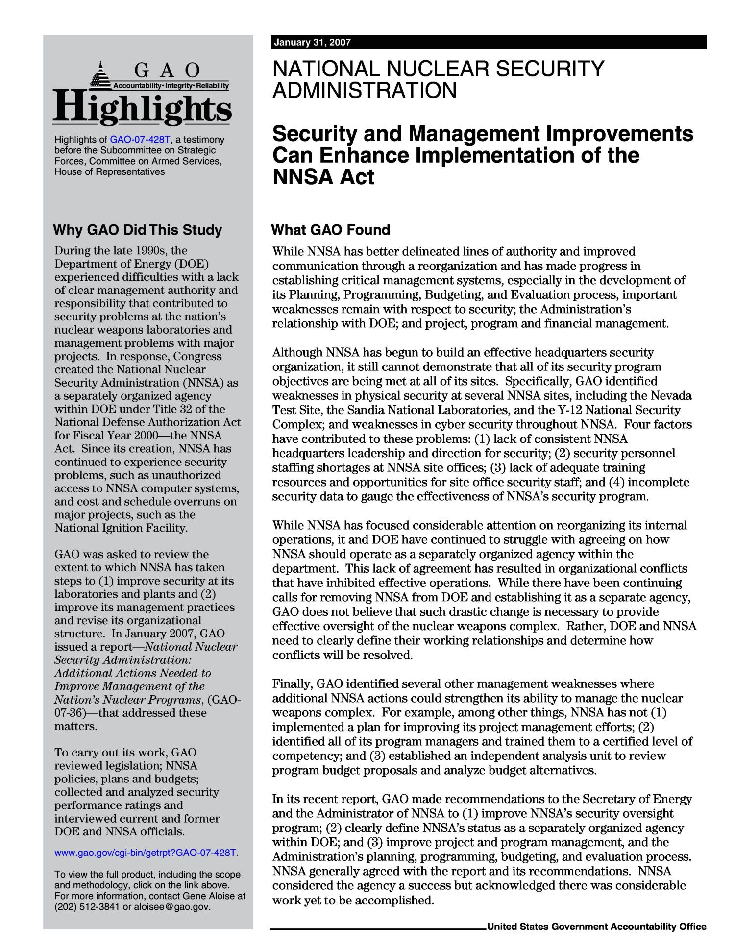 National Nuclear Security Administration: Security and Management Improvements Can Enhance Implementation of the NNSA Act                                                                                                      [Sequence #]: 2 of 15