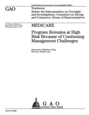 Primary view of object titled 'Medicare: Program Remains at High Risk Because of Continuing Management Challenges'.