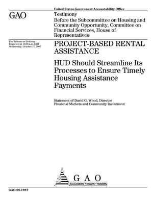 Primary view of object titled 'Project-Based Rental Assistance: HUD Should Streamline Its Processes to Ensure Timely Housing Assistance Payments'.
