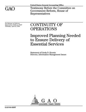 Primary view of object titled 'Continuity of Operations: Improved Planning Needed to Ensure Delivery of Essential Services'.
