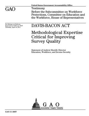 Primary view of object titled 'Davis-Bacon Act: Methodological Expertise Critical for Improving Survey Quality'.