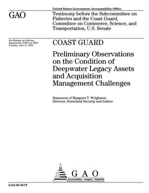 Primary view of object titled 'Coast Guard: Preliminary Observations on the Condition of Deepwater Legacy Assets and Acquisition Management Challenges'.