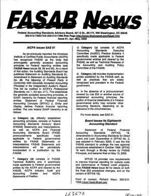 Primary view of object titled 'FASAB News, Issue 61, April-May 2000'.