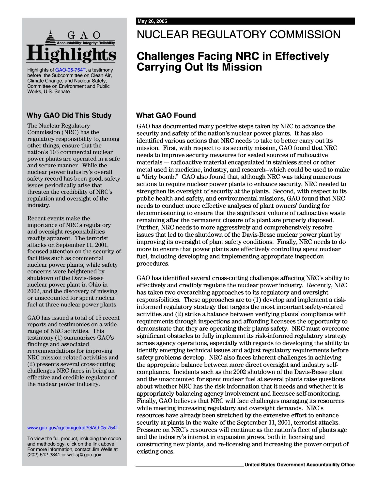 Nuclear Regulatory Commission: Challenges Facing NRC in Effectively Carrying Out Its Mission                                                                                                      [Sequence #]: 2 of 23