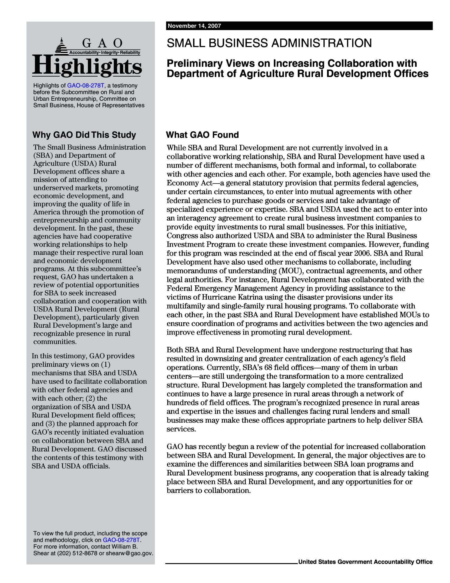 Small Business Administration: Preliminary Views on Increasing Collaboration with Department of Agriculture Rural Development Offices                                                                                                      [Sequence #]: 2 of 15