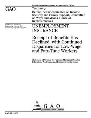 Primary view of object titled 'Unemployment Insurance: Receipt of Benefits Has Declined, with Continued Disparities for Low-Wage and Part-Time Workers'.