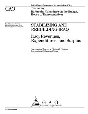 Primary view of object titled 'Stabilizing and Rebuilding Iraq: Iraqi Revenues, Expenditures, and Surplus'.