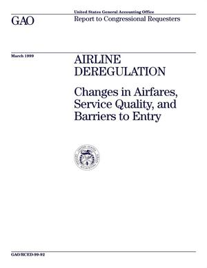 Primary view of object titled 'Airline Deregulation: Changes in Airfares, Service Quality, and Barriers to Entry'.