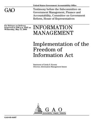 Primary view of object titled 'Information Management: Implementation of the Freedom of Information Act'.