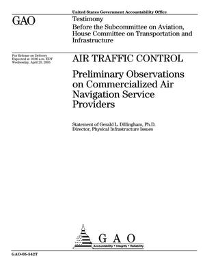 Primary view of object titled 'Air Traffic Control: Preliminary Observations on Commercialized Air Navigation Service Providers'.