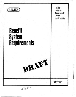Primary view of object titled 'JFMIP: Benefit System Requirements (Draft)'.