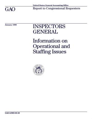 Primary view of object titled 'Inspectors General: Information on Operational and Staffing Issues'.