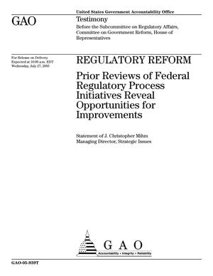 Primary view of object titled 'Regulatory Reform: Prior Reviews of Federal Regulatory Process Initiatives Reveal Opportunities for Improvements'.