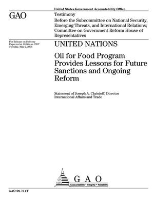 Primary view of object titled 'United Nations: Oil for Food Program Provides Lessons for Future Sanctions and Ongoing Reform'.