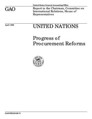 Primary view of object titled 'United Nations: Progress of Procurement Reforms'.