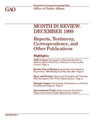 Primary view of object titled 'Month In Review: December 1999  Reports, Testimony, Correspondence, and Other Publications'.