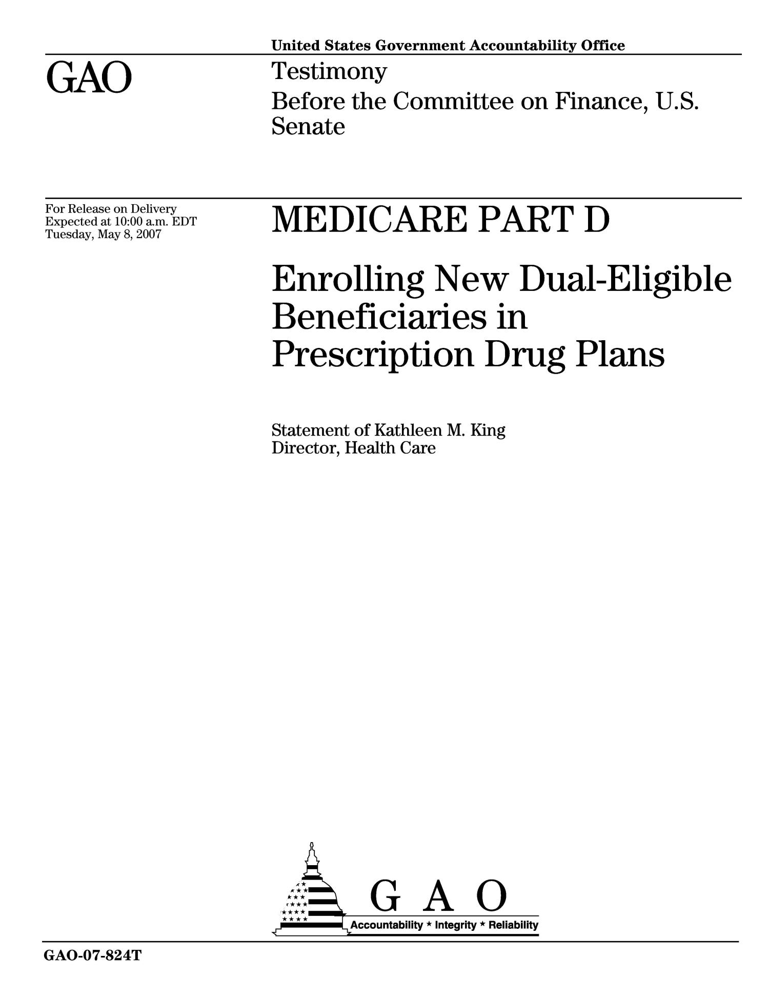Medicare Part D: Enrolling New Dual-Eligible Beneficiaries in Prescription Drug Plans                                                                                                      [Sequence #]: 1 of 15