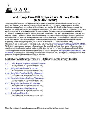 Primary view of object titled 'Food Stamp Farm Bill Options: Local Survey Results, an E-supplement to GAO-04-916'.