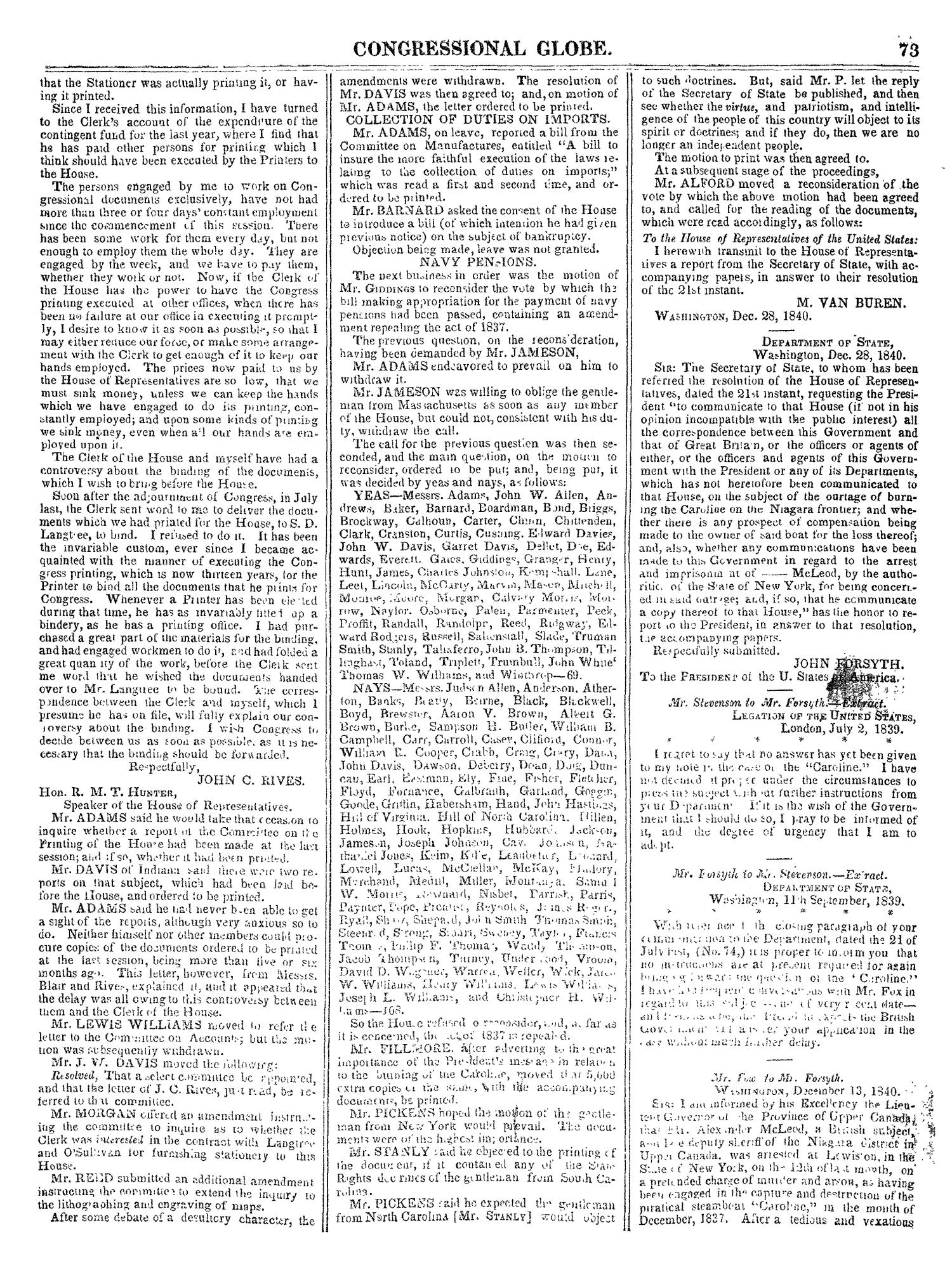 the congressional globe volume 9 twenty sixth congress second Military IPR Meeting the congressional globe volume 9 twenty sixth congress second session page 73 digital library