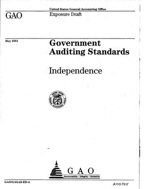 Primary view of object titled 'Government Auditing Standards: Independence (Exposure Draft)'.