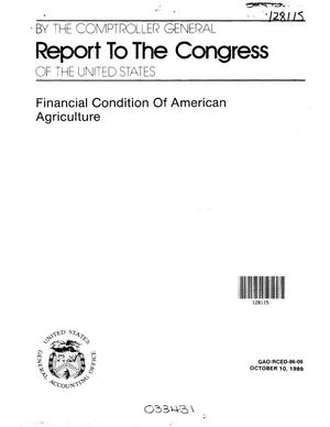 Primary view of object titled 'Financial Condition of American Agriculture'.