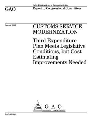 Primary view of object titled 'Customs Service Modernization: Third Expenditure Plan Meets Legislative Conditions, but Cost Estimating Improvements Needed'.