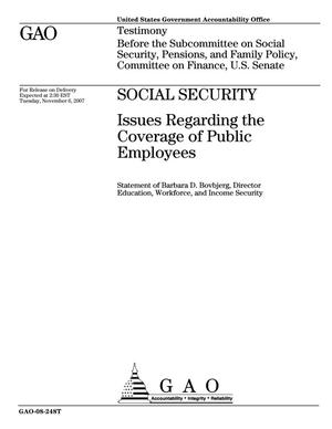 Primary view of object titled 'Social Security: Issues Regarding the Coverage of Public Employees'.