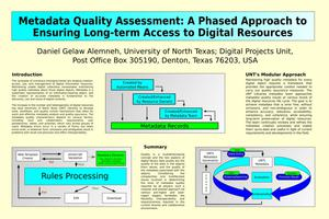 Primary view of object titled 'Metadata Quality: A Phased Approach to Ensuring Long-Term Access to Digital Resources [Poster]'.