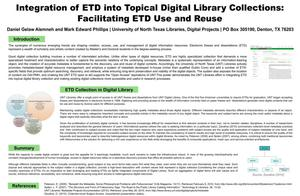 Primary view of object titled 'Integration of ETD into Topical Digital Library Collections: Facilitating ETD Use and Reuse'.