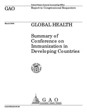 Primary view of object titled 'Global Health: Summary of Conference on Immunization in Developing Countries'.