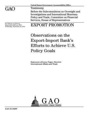 Primary view of object titled 'Export Promotion: Observations on the Export-Import Bank's Efforts to Achieve U.S. Policy Goals'.