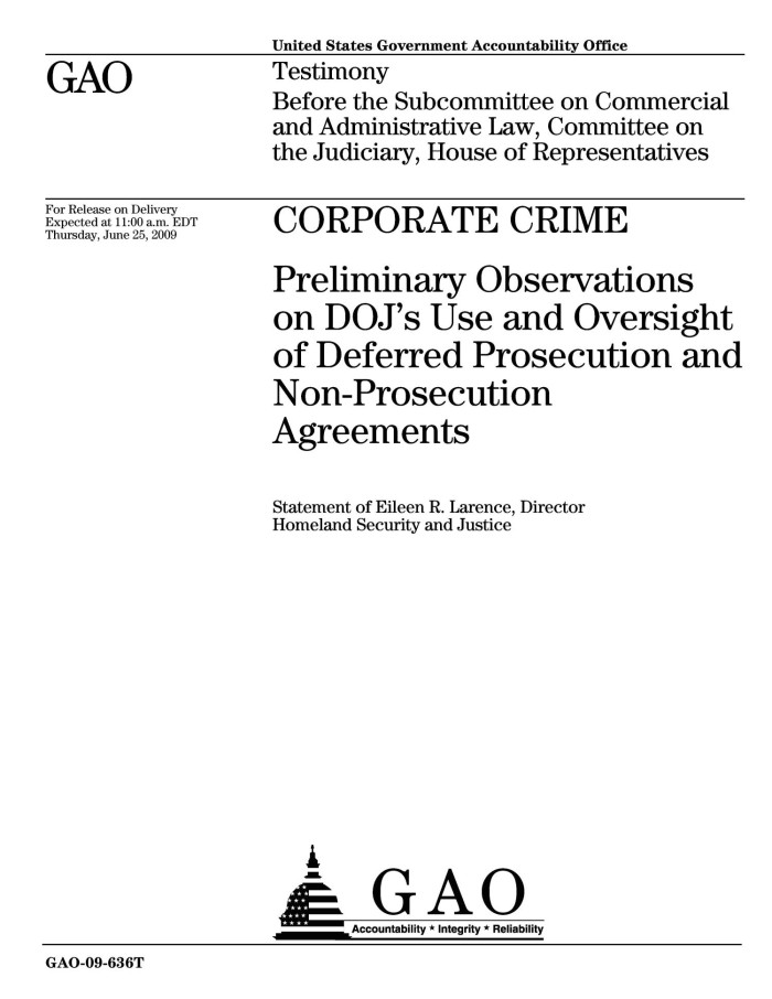 Corporate Crime Preliminary Observations On Dojs Use And Oversight