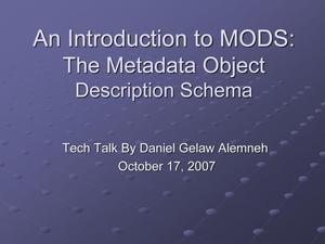 Primary view of object titled 'An Introduction to MODS: The Metadata Object Description Schema'.