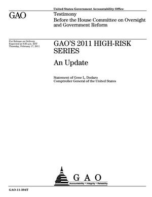 Primary view of object titled 'GAO's 2011 High Risk Series: An Update'.