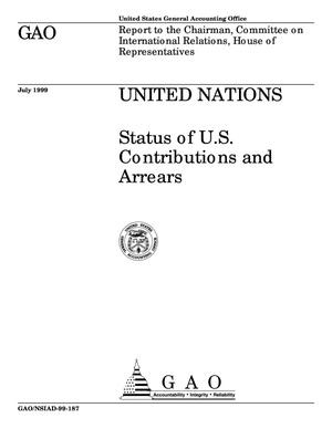 Primary view of object titled 'United Nations: Status of U.S. Contributions and Arrears'.