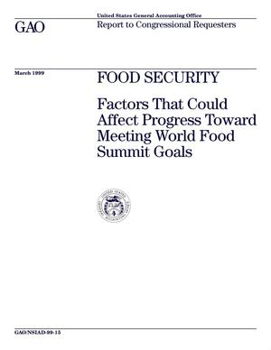 Primary view of object titled 'Food Security: Factors That Could Affect Progress Toward Meeting World Food Summit Goals'.
