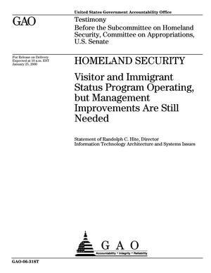 Primary view of object titled 'Homeland Security: Visitor and Immigrant Status Program Operating, but Management Improvements Are Still Needed'.