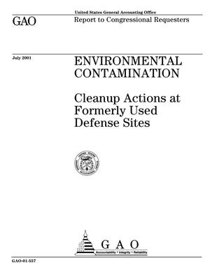 Primary view of object titled 'Environmental Contamination: Cleanup Actions at Formerly Used Defense Sites'.