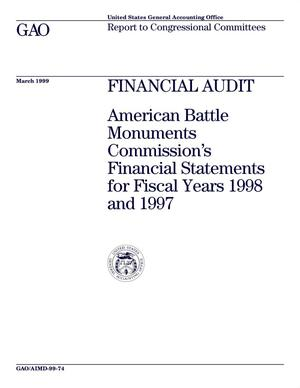 Primary view of object titled 'Financial Audit: American Battle Monuments Commission's Financial Statements for Fiscal Years 1998 and 1997'.