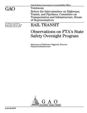 Primary view of object titled 'Rail Transit: Observations on FTA's State Safety Oversight Program'.